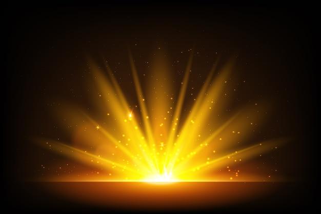 照らされた輝く日の出効果