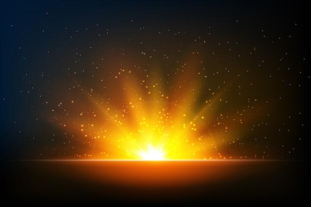 光沢のある輝く日の出の光の効果