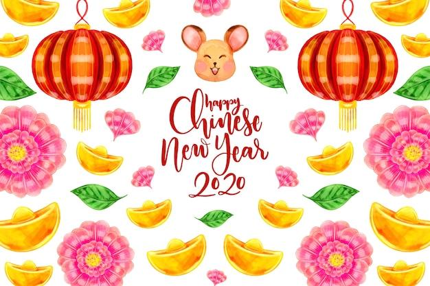 Акварель китайский новый год концепция