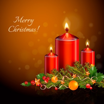 Реалистичная рождественская свеча фон концепции