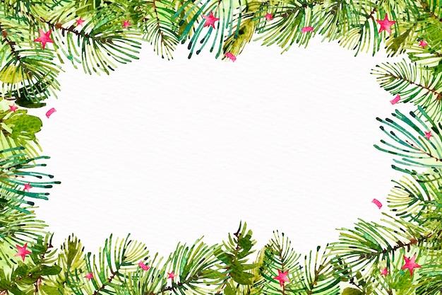 水彩のクリスマスツリーブランチの背景