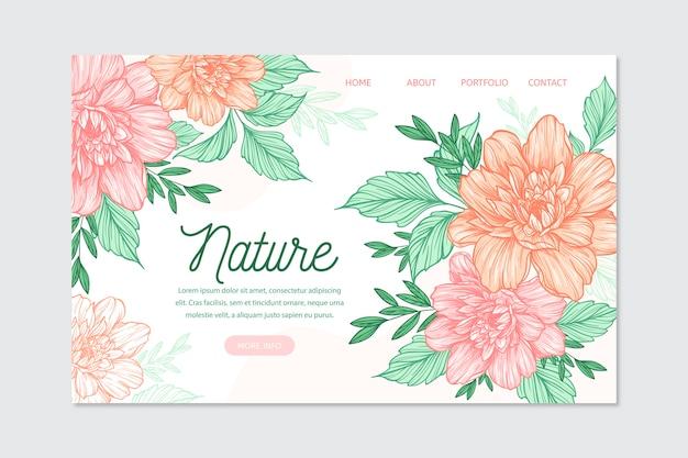 手描きの自然着陸ページテンプレート