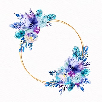 Круглая золотая рамка с зимними цветами