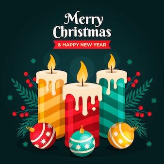 フラットなデザインのクリスマスキャンドルの背景コンセプト