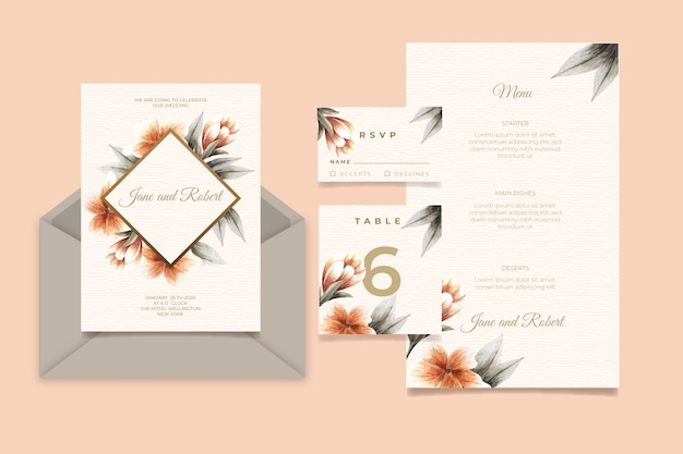 花と結婚式の招待カード