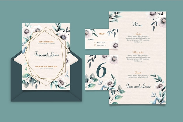 優雅な結婚式の文房具セット
