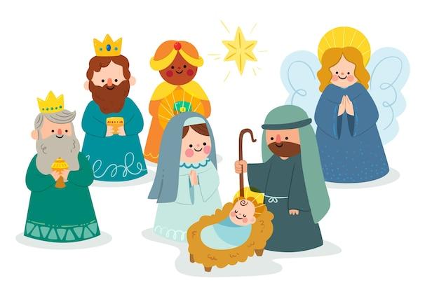 Концепция сцены рождества в плоском дизайне