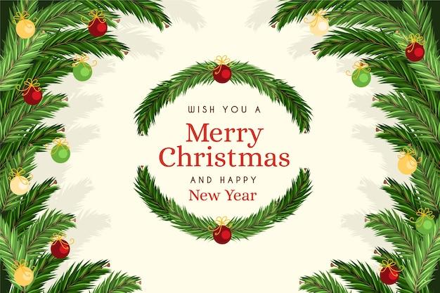 手描きのクリスマスツリーブランチの背景