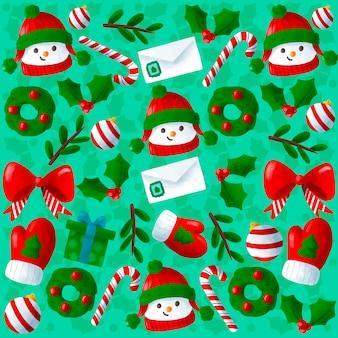 かわいい手描きクリスマス背景