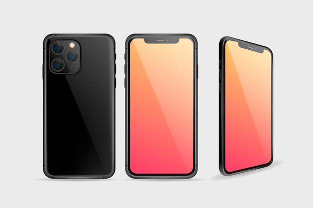 現実的なスマートフォンの前面と背面