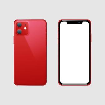 現実的な赤いスマートフォンの前面と背面