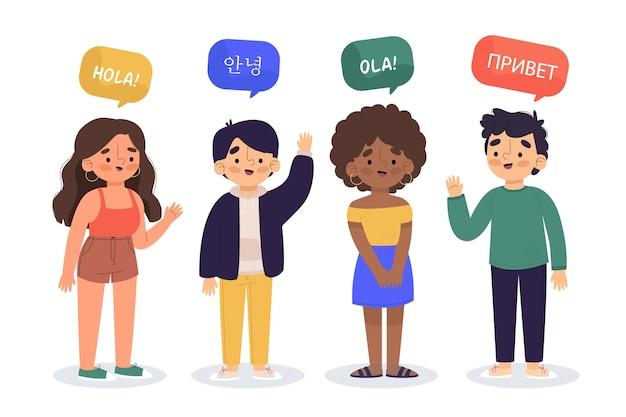 異なる言語パックで話している若者のイラスト