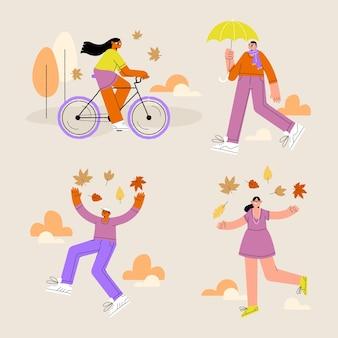 秋の公園でさまざまな活動をしている人々