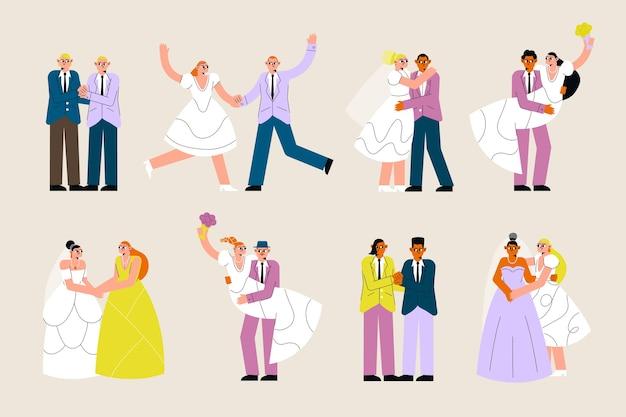 Нарисованная рукой коллекция свадебной пары