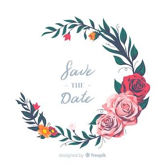 美しい手描きの結婚式の花輪
