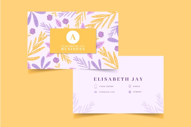 Красочный цветочный шаблон визитной карточки