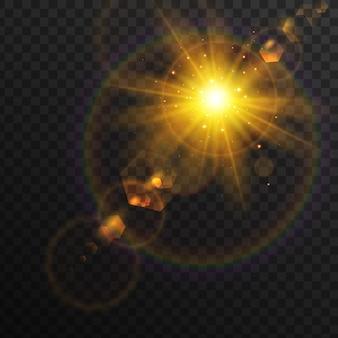 Сверкающий световой эффект восхода солнца