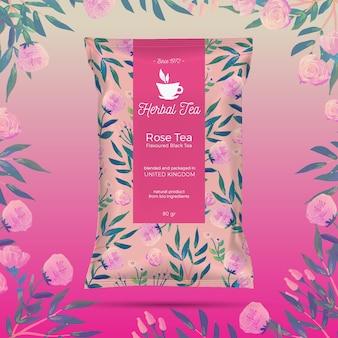 水彩装飾のお茶広告
