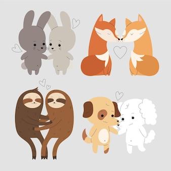 手描きのバレンタインの日の動物のカップル