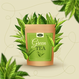 手描きの装飾とお茶の広告