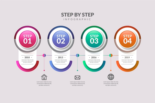 Градиентные инфографические шаги