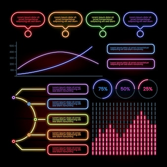 Неоновая коллекция инфографики
