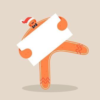 Забавный пряничный человечек в новогодней шапке держит пустой баннер