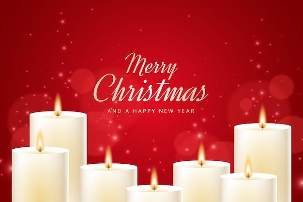フラットなデザインのクリスマスキャンドルの背景