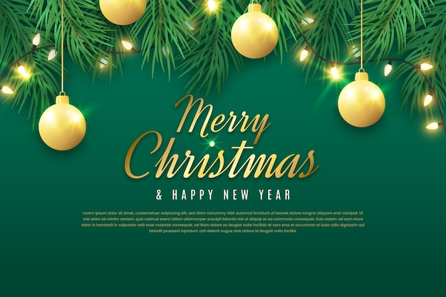 フラットなデザインのキラキラ効果でクリスマスの背景