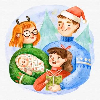 水彩クリスマス家族シーン