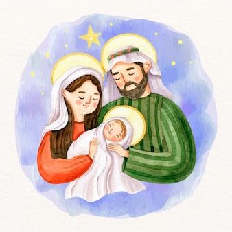水彩キリスト降誕シーン