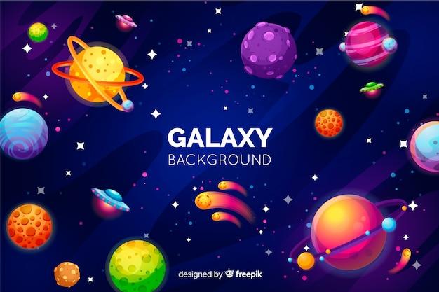 Фон галактики с красочными планетами