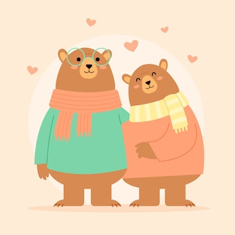 Плоский дизайн день святого валентина животных пара
