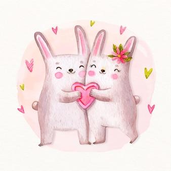 手描きのバレンタイン動物のカップル
