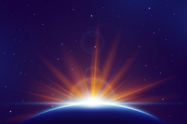 Световой эффект восхода земли