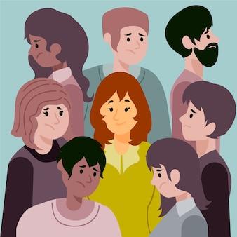 Улыбающаяся женщина в толпе грустных людей