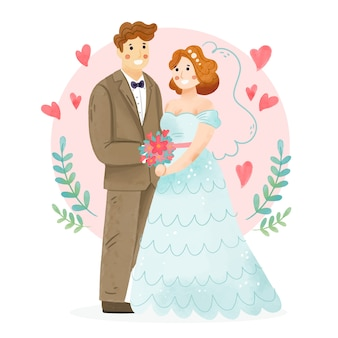 Акварельная свадебная пара иллюстрирована