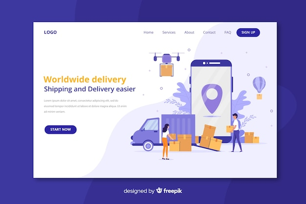Целевая страница доставки по всему миру