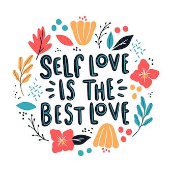 Самостоятельная любовь надписи с цветами