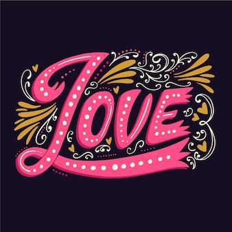 Любовные надписи в винтажном стиле с разными орнаментами