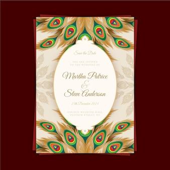 Шаблон свадебного приглашения с красочными перьями павлина