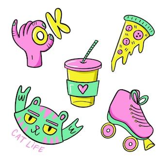 Нарисованный вручную забавный стикер с кислотными цветами
