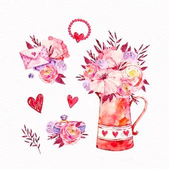 Акварель валентина день коллекция элементов