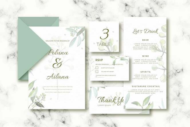 緑の色調での結婚式のためのさまざまなパペット