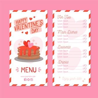 Ручной обращается шаблон день святого валентина меню