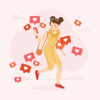 ソーシャルメディアにはまっている若い女性