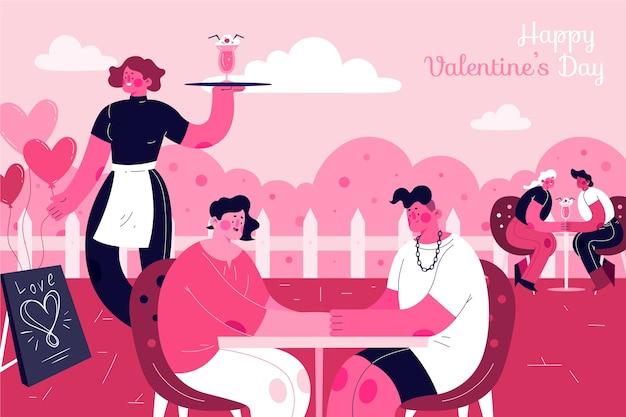 手描きのバレンタインデーの背景