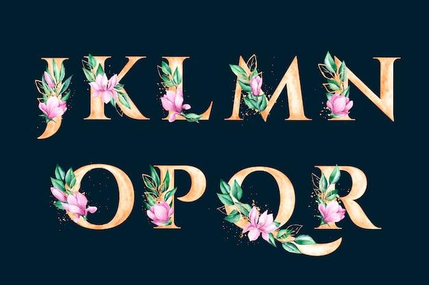 Золотой алфавит с концепцией элегантных цветов