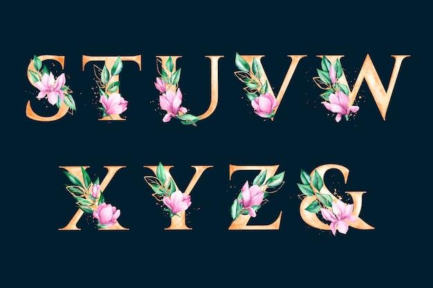 エレガントな花をテーマにした黄金のアルファベット
