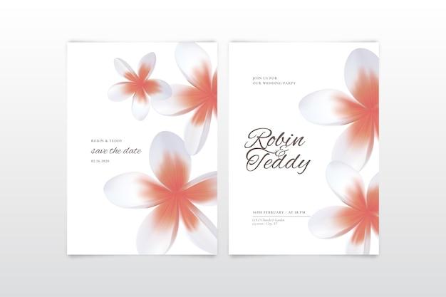 大きな花とカラフルな結婚式の招待状